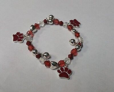 Childrens Red Beaded Stretch Bracelet W Red Paw Charms