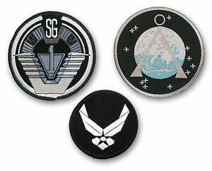 STARGATE-SG1-SET-OF-3-Main-Team-Prop-Jacket-Patches-SG-1-Chevron-USAF