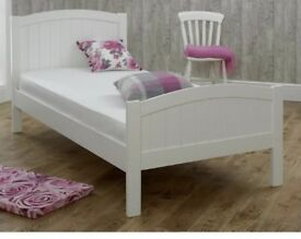 White wooden single bed bedroom furniture kids or adults single