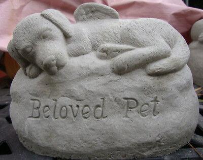 DOG ANGEL - BELOVED PET GRAY CEMENT STATUE - MEMORIAL MARKER