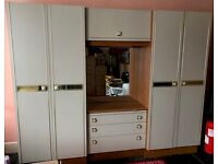 Spacious Combination Double wardrobe / chest of drawers with vanity mirror and overhead stroage