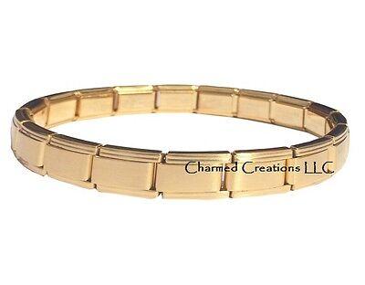 9mm Stainless Italian Charm Bracelet (Solid Gold Tone 9mm Italian Charm Stainless Steel Modular Link Starter Bracelet )