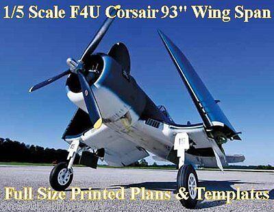 1//6  Scale F4U Corsair  84 inch wing Giant Scale RC AIrplane Digital PDF Plans
