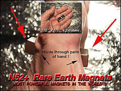 "Extremely Powerful Rare Earth Magnets 1/2""x1/2""x1/2"" / 4 pcs NdFeBo N52+"