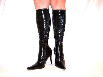Lack  schwarz 36-41 Fetisch Domina sexy heels 10cm Poland (Knie Hohe Stiefel Fetisch)
