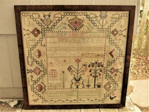 VINTAGE HAND-MADE CROSS-STITCH SAMPLER in Wood Frame--Signed--1990--16 X 18