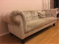 Gold crushed velvet sofa