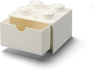 LEGO Desk Drawer Stackable Storage with 4 Knobs, in White Room Copenhagen Toy