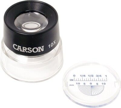 Carson 10x LumiLoupe Stand Magnifier Loupe with Snap On Measurement Reticle