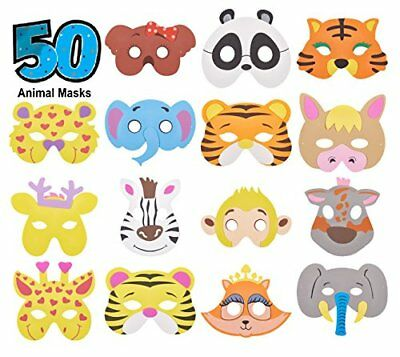 50 Piece Assorted Foam Animal Masks Halloween masks Dress-Up Party Accessory (Party Halloween Pr)