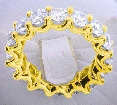 5.4 ct Round Diamond Eternity Ring 14k Yellow Gold U Band 18 x 0.30 E-F GIA sz 8