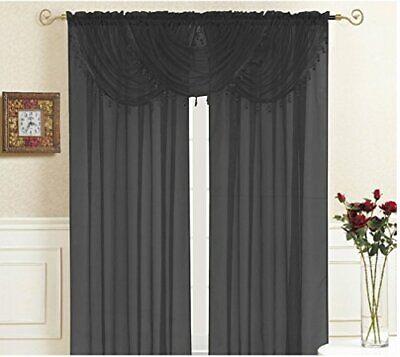 "Kashi Home Lisa Valance Collection Window Accent Valance 36"" x 35"" Black"