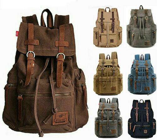 """Shoulder Satchel Canvas Leather 15"""" 17"""" Laptop Backpack Travel Camping Rucksack"""