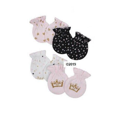 Gerber Baby Girl 3-Piece Pink Princess Mittens Size 0-3M