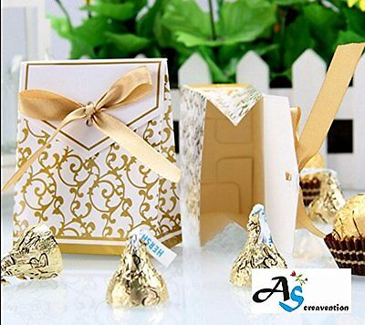 100 Gold Ribbon Wedding Favor Boxes. Gift Party Decoration Candy Bridal Shower