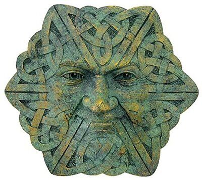 Greenman Celtic Face Wall Plaque (2422) 4 Inch Hand Painted Resin