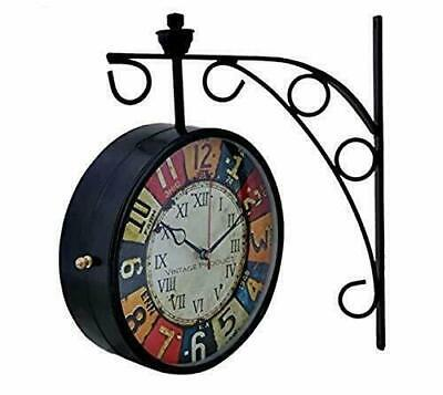 Double Sided Antique Wall Clock Multi color Station Platform Analog 12 Inches