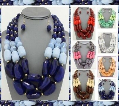 Statement Necklace Chunky Resin Beaded Clear Multi Layered 3 Row Strand String