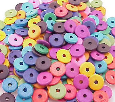 13mm Greek Disk Beads 2.7mm Hole Bright Mixture G48 Narrow Rondelle Spacer  Disc