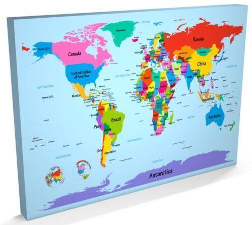 World Map Canvas Ebay: Ikea World Map Canvas Uk At Usa Maps