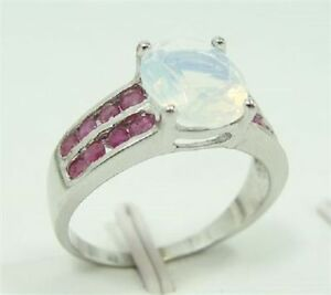 Sterling Silver Moonstone Ring with rubies Gatineau Ottawa / Gatineau Area image 1