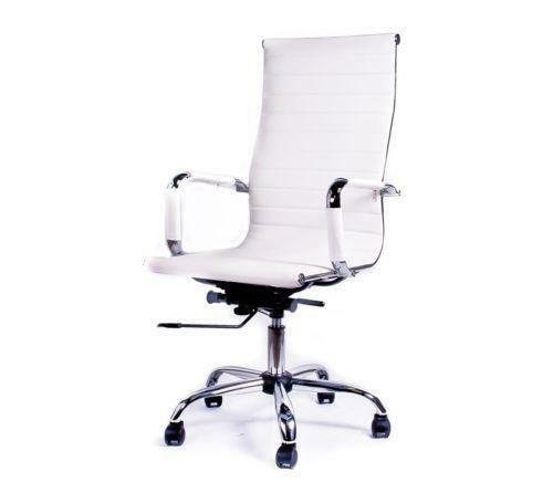 white leather office chair ebay