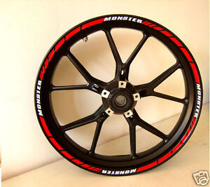 Ducati Corse racing Monster red white Rim Sticker Set for both wheels
