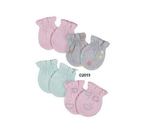 Gerber Baby Girl 4-Piece ORGANIC Clouds/Dots Mittens Size 0-3M