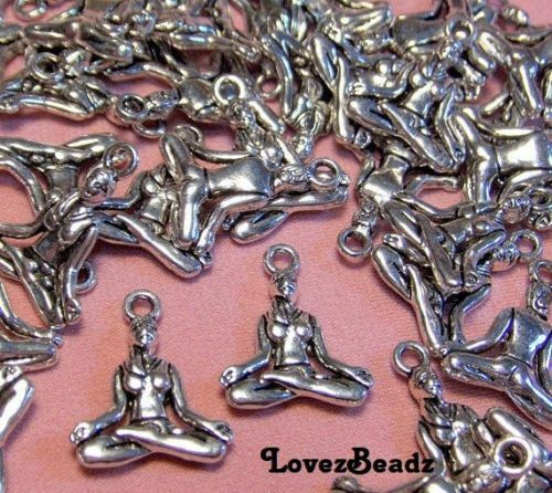 15 Silver Yoga Lotus Pose Charms-Zen-Meditation-Jewelry-$30 ORDERS SHIP FOR FREE