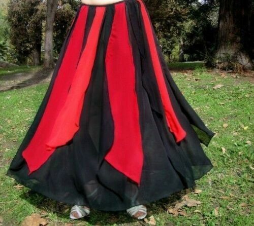 Ameynra Gothic Belly dance Skirt Black with Red Petals, 1 High Slit. Size S. New