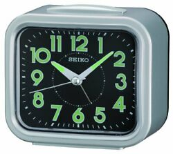 Seiko Analog Quartz Quiet Sweep Silver Tone Metallic Alarm Clock QHK023SLH