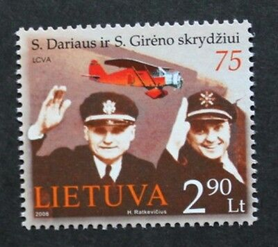 Anniversary of the flight S. Darius stamp, 2008, Lithuania, mint, never hinged