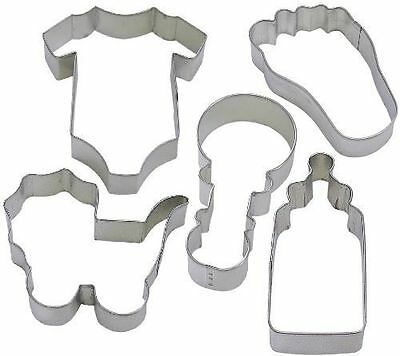 Baby Shower Cookies Cutters (5 Piece Baby Jumpsuit Foot Bottle Rattle Cookie Cutter Set NEW! Shower)