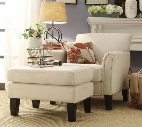 White Linen Furniture Accent Chair And/or Ottoman Set Fabric Chairs Living  Room