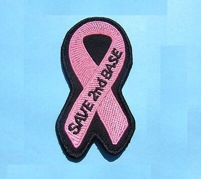 SAVE 2ND BASE BREAST CANCER AWARENESS PINK RIBBON OCTOBER IRON ON OR SEW PATCH