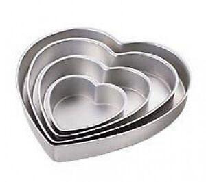 Wilton Heart Shaped Cake Pans Set 4  New 6,10,12,14 deep 2