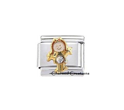 April Girl Birthstone 9mm Italian Charm Link Daughter Kid CZ Gemstone Birthday Child 9mm Birthstone Italian Charm