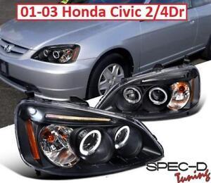 NEW SPEC-D HONDA CIVIC HEADLIGHTS 2LHP-CV01JM-TM 214572121 01-03 Civic 2/4Dr Black LED Dual Halo Projector Headlights...