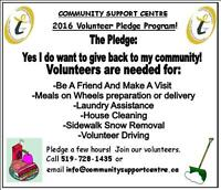 PLEDGE TO VOLUNTEER WITH THE COMMUNITY SUPPORT CENTRE