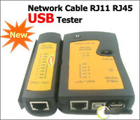 New NETWORK USB CABLE LAN TESTER RJ11 RJ12 RJ45 with CASE