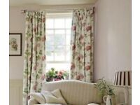 "Laura Ashley Cranberry Geranium Lined Curtains 62"" W / 54"" D Floral/Shabby Chic Prescot/Widnes/Post"