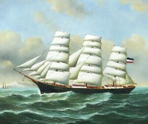 Stunning-Oil-painting-seascape-big-sail-boat-on-ocean-with-waves-no-framed-36