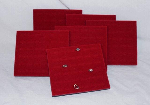 LOT OF 6   36 RING VELVET INSERT RED