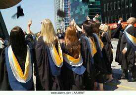 Salford university graduating gown mortcroft hat and hood