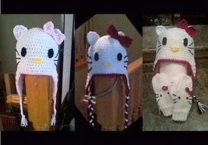 Crochet Hello Kitty and Minnie Mouse hat and Mitts Kitchener / Waterloo Kitchener Area image 1