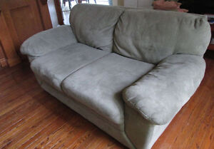 Moving- $100 FIRM Earthy Grey/Grey Suede loveseat. Exc