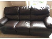 3 Seater Dark Brown Leather Reclining Sofa