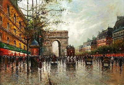 French Paris Street Dusk Shopping scene Artistic  Poster Print Art