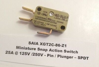 Saia Xgt2c-86-z1 Miniature Snap Action Switch 25a 125v 250v - Plunger - Spdt