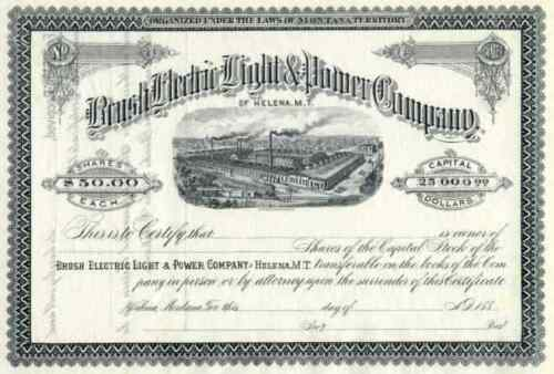 188_ Brush Electric Light & Power Stock Certificate